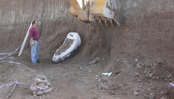 Extracción de una coraza de gliptodonte, hallado durante las tareas de ampliación de la CEAMSE. Octubre de 2007
