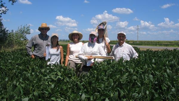 Muestreo de especies plaga del cultivo de soja, utilizando los implementos de protección requeridos para el trabajo de campo, para evitar contraer enfermedades transmitidas por roedores.
